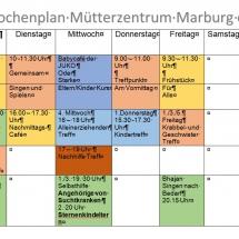 Wochenplan Mütterzentrum