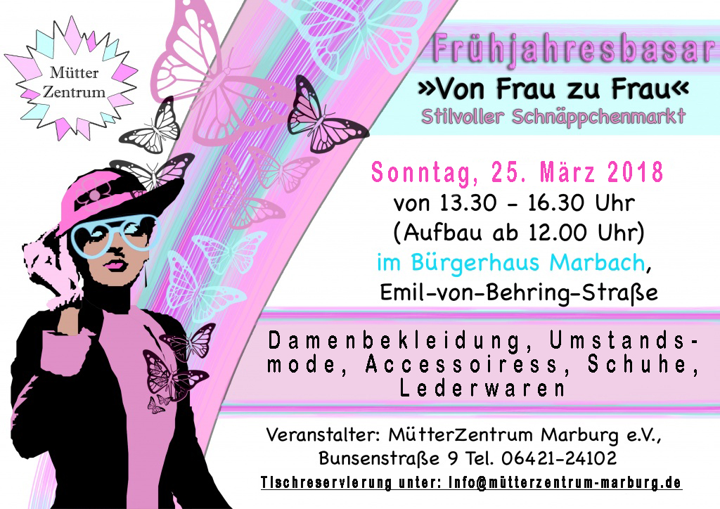fr hjahresbasar von frau zu frau am sonntag m tterzentrum marburg e v. Black Bedroom Furniture Sets. Home Design Ideas